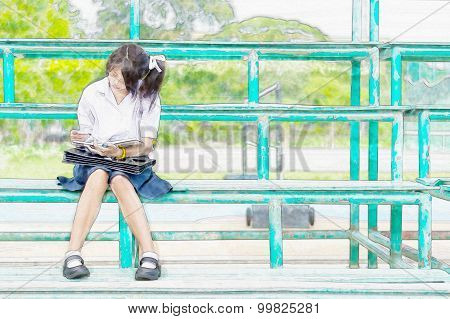 Watercolor Illustration Sketch Drawing Of Cute Asian Thai Schoolgirl Student In Uniform Is Sitting A