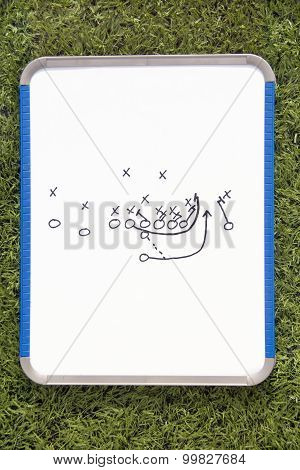 Football Clipboard With Play Diagram