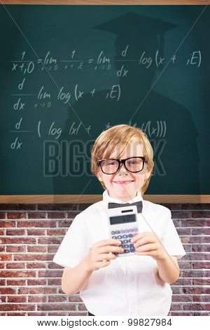 Cute pupil using calculator against teal