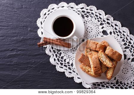 Cantuccini Cookies And Coffee On The Table. Horizontal Top View