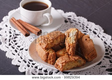 Cantuccini With Almonds And Coffee With Cinnamon. Horizontal