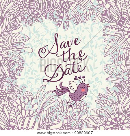 Lovely Save the Date card in vector. Beautiful greeting card with lovely flowers and sweet bird. Vector party invitation with cute floral elements