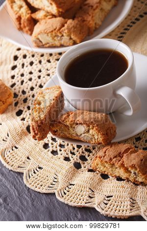 Fragrant Coffee And Italian Cookies Cantuccini Closeup. Vertical
