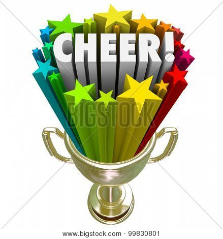 Cheer word in gold trophy with stars to illustrate winning award or prize for best or top performance of a cheerleading squad or team at final national or state competition