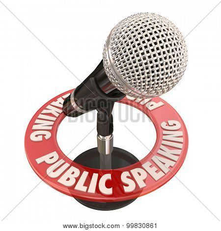 Public Speaking words in red ring around a microphone to illustrate a keynote speaker giving a speech or address to an audience or crowd at a meeting or gathering