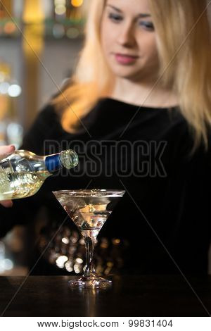 Blond Girl Serving Alcohol Drink