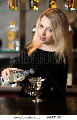 Blond Girl Pouring Martini