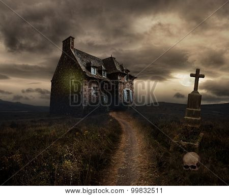 Halloween background with old house