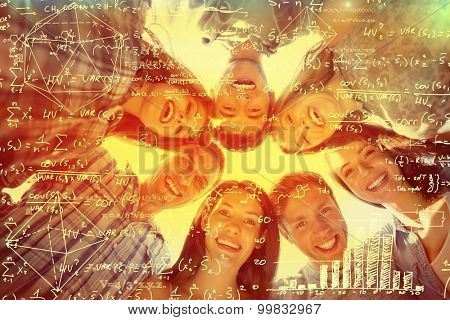 geometry problem against happy students smiling at camera in a circle
