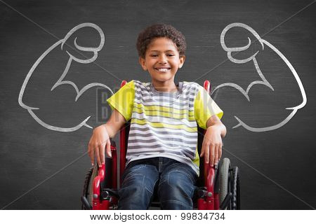 Cute disabled pupil smiling at camera in hall against black background