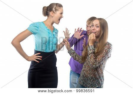 Photo of businesswoman screaming at frightened subordinates