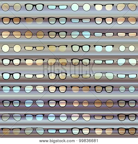 Glasses pattern on strikes background.
