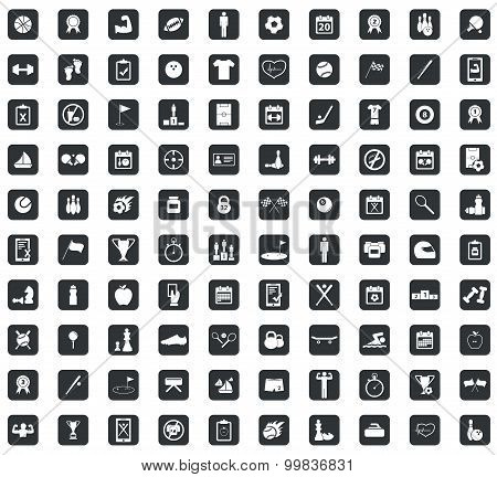 100 Sport icons set, square, black