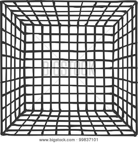 Hand Drawn Square Futuristic Room With Subdivision