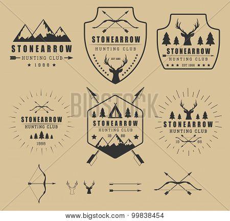 Set Of Vintage Hunting Logos, Labels, Badges And Elements