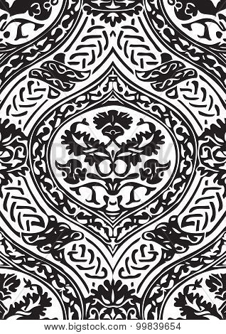 Vector Seamless Floral Antique Pattern With Interlacing Ribbons Black And White