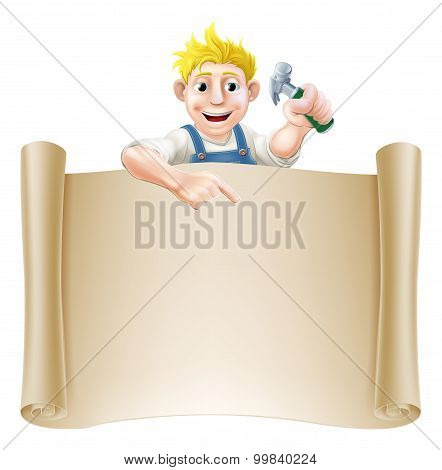 Cartoon Carpenter And Scroll