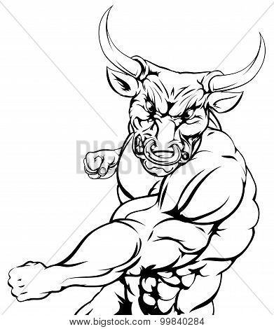 Fighting Bull Character Sports Mascot