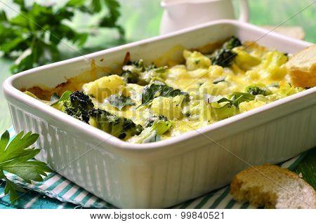 Cauliflower And Broccoli Baked In Cream Sauce.