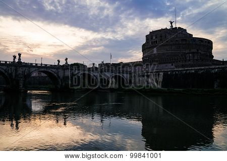 View on bridge over the Tiber river and Saint Angel castle
