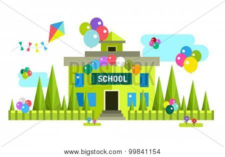 Back to school background. Vector school building illustration. Outdoor. School uniform, university building, preschool and education, school kids, teens. Welcome to school background.