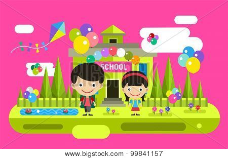 Cute vector cartoon boy and girl playing near school building. School uniform, university building, education, school kids, teen. Back to school background. Welcome to school