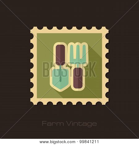 Garden Tool Retro Flat Stamp With Long Shadow