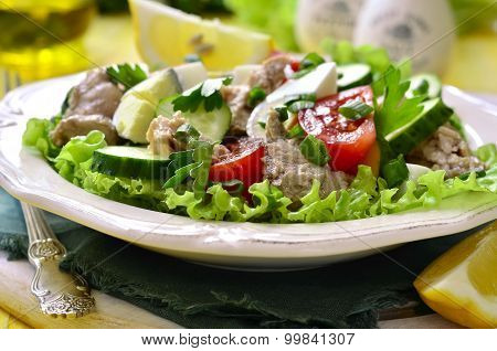 Vegetable Salad With Eggs And Cod Liver.