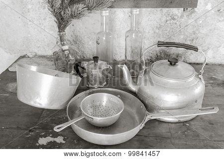 Old Kitchen Utensils In Aluminum.