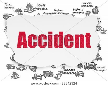 Insurance concept: Accident on Torn Paper background