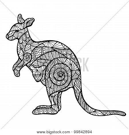 Stylized Kangaroo Zentangle