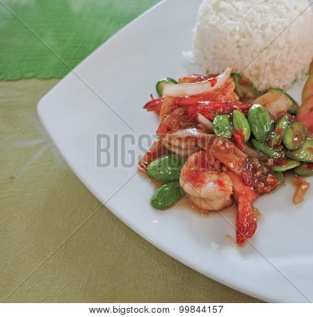 Thai food, shrimp ,with chili pepper and sweet basil