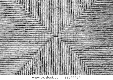 Black And White Bulrush Chair Seat Texture Or Background