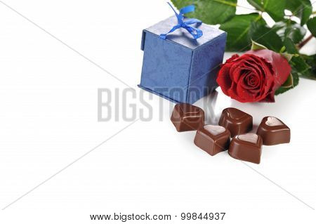 Rose And  Gifts In Box