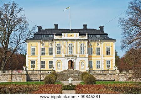 Exterior of the baroque Steninge Palace outside of Stockholm, Sweden.