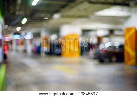 Blurred Image Inside A Basement Parking Lots With Bokeh Background
