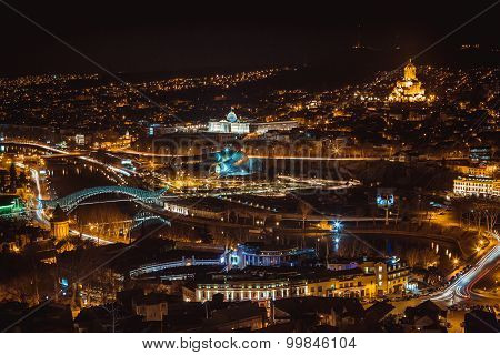 Night view of old town in Tbilisi