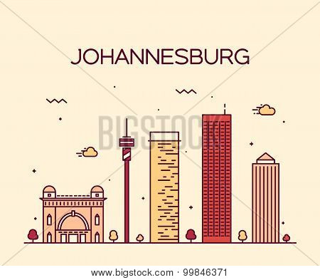 Johannesburg skyline vector illustration linear