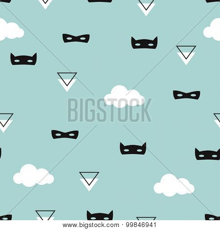 Seamless geometric kids blue super hero mask with clouds illustration background pattern in vector
