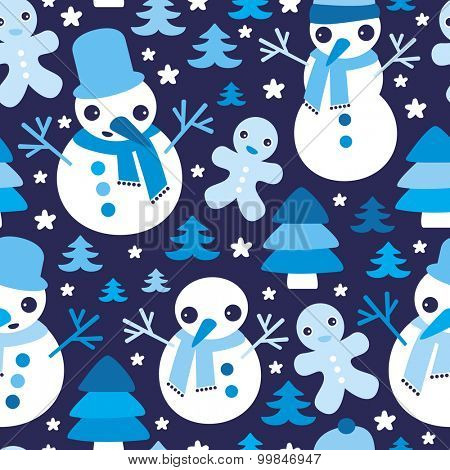Seamless winter blue gingerbread man and snowman christmas tree illustration holiday background pattern in vector