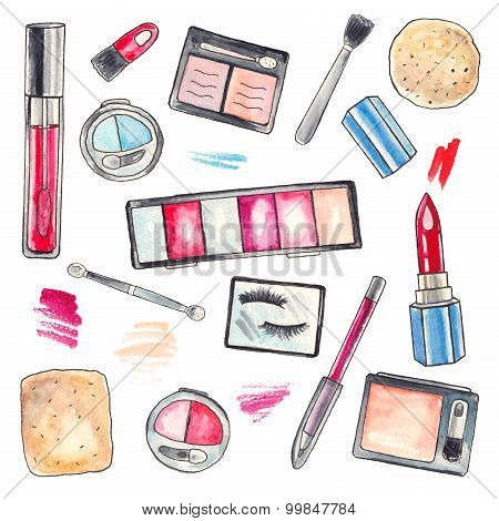 Watercolor Makeup products set