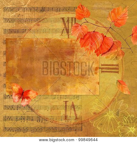 Vintage style autumn collage with a branch of vivid leaves and a butterfly