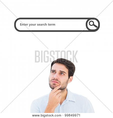 Serious thinking man looking up against search engine