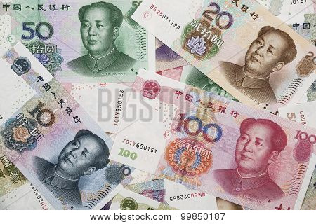 A Collage Of Chinese Rmb Bank Notes