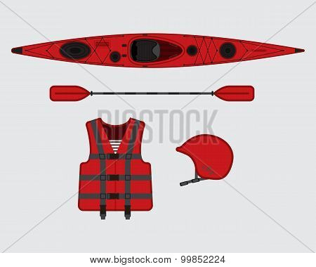 Red Flat Rafting Vector Set