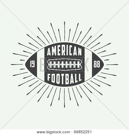 Vintage American Football Or Rugby Ball Logo, Badge Or Label.