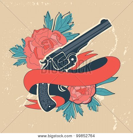 Classic revolvers and roses emblem
