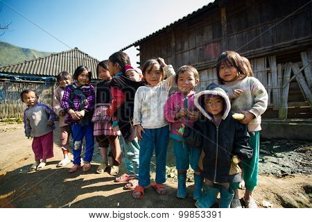 H'mong ethnic minority children in Laocai, Vietnam