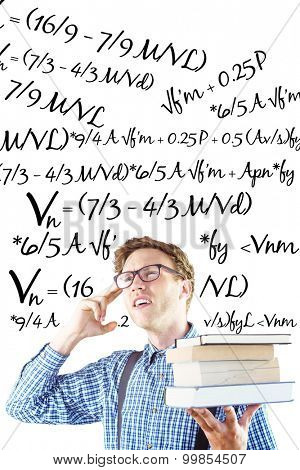 Geeky student holding a pile of books against maths equation