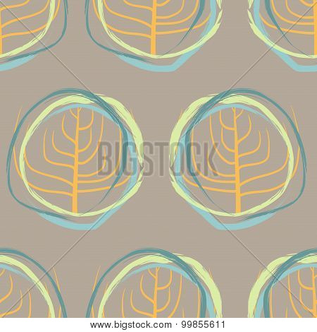 Silhouette Of Dry Wood, Squiggle Pattern Retro Seamless. Vector Vintage Background Circles Of Irregu